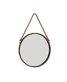"15"" Patina Round Mirror with Hanging Rope"