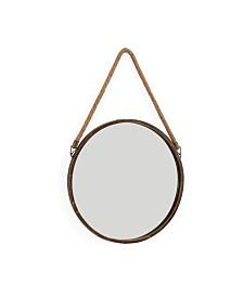 """Danya B. 15"""" Patina Round Mirror with Hanging Rope"""