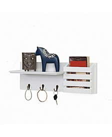 Utility Shelf with Pocket and Hanging Hooks