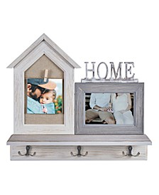 """""""Home"""" Entryway Shelf Picture Frame with Hooks"""
