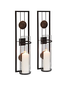 "20"" Decorative Metal Medallion Pillar Candle Sconces - Set of 2"