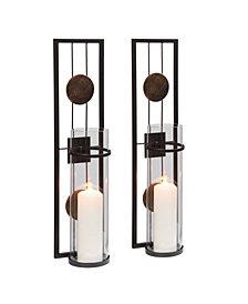 "Danya B. 20"" Decorative Metal Medallion Pillar Candle Sconces - Set of 2"