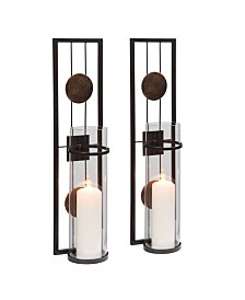 "Danya B. 20"" Decorative Metal Medallion Pillar Candle Sconces - Set of 2"