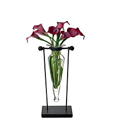 Clear Amphora Vase on Swiveling Iron Stand with Finials and Hinge