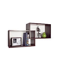 Danya B. Intersecting Walnut Rectangular Shelves - Set of 2