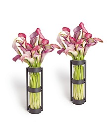 Metal Stand Glass Cylinder Vases - Set of 2