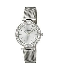 Ladies' T-Bar Case Double Stone Bezel Silver Mesh Band Watch