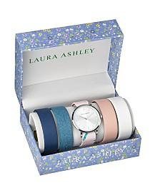 Laura Ashley Silver Slidethrough Interchangeable Sleek Dial Set Watch