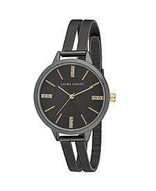 Black Split Mesh Band Sunray Dial Watch