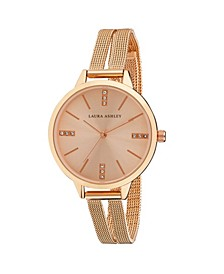Rose Gold Split Mesh Band Sunray Dial Watch