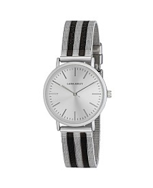 Laura Ashley Ladies' Silver Sunray Dial With Black Striped Mesh Band Womens Watch