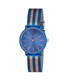 Laura Ashley Ladies' Blue Sunray Dial With Rose Gold Striped Mesh Band Womens Watch