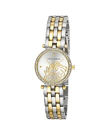 Laura Ashley Two Tone Gold Five Link Floral Embossed Dial Stone Bezel Watch