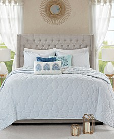 Madison Park Isla Full/Queen 6 Piece Cotton Printed Reversible Coverlet Set