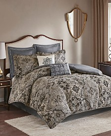 Madison Park Hillrose Queen 8 Piece Chenille Jacquard Comforter Set