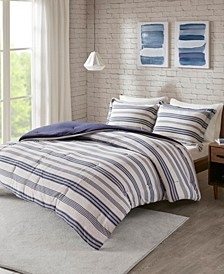 Urban Habitat Cole Full/Queen Stripe Print Ultra Soft Cotton Blend Jersey Knit 3 Piece Comforter Set