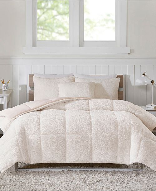 JLA Home Intelligent Design Jensen Twin/Twin XL Reversible Sherpa to Softspun Flannel 2 Piece Comforter Mini Set