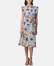 Tahari ASL Printed Ruffled Shirtdress