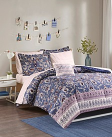 Intelligent Design Calico Twin XL 6 Piece Comforter and Sheet Set