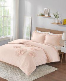 Ella Full/Queen Solid Ruffle Floral 3 Piece Comforter Mini Set