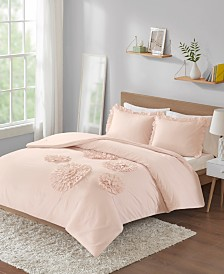 Intelligent Design Ella Full/Queen Solid Ruffle Floral 3 Piece Comforter Mini Set