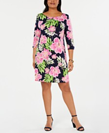 MSK Plus Size Floral-Print Stretch Shift Dress