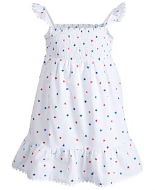 Epic Threads Little Girls Smocked Star-Print Cotton Dress, Created for Macy's