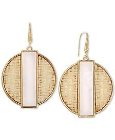 Laundry by Shelli Segal Gold-Tone Shell Stone Woven Drop Earrings