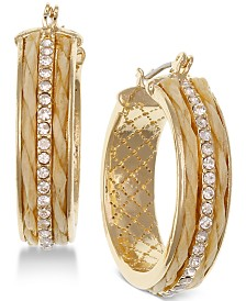 """Laundry by Shelli Segal Gold-Tone Pavé Textured Small 1"""" Small Hoop Earrings"""