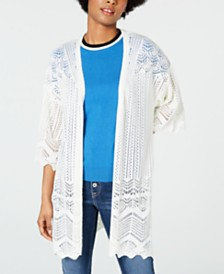 Hippie Rose Juniors' Pointelle Elbow-Sleeve Cardigan
