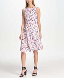 DKNY Floral Draped A-Line Dress