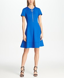 DKNY Short Sleeve Logo Zip Front Fit & Flare Dress