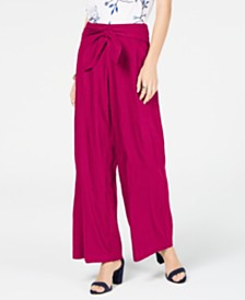 I.N.C. Wide-Leg Paper Bag Tie Waist Pants, Created for Macy's