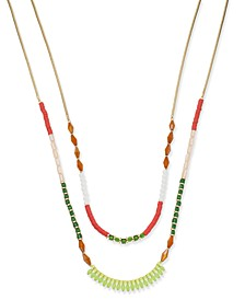 "INC Gold-Tone Multi-Bead Double Row Necklace, 18"" + 3"" extender, Created for Macy's"