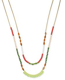 "I.N.C. Gold-Tone Multi-Bead Double Row Necklace, 18"" + 3"" extender, Created for Macy's"