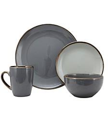 Cambridge Grand 16 Piece Dinnerware Set, Black/Warm Taupe