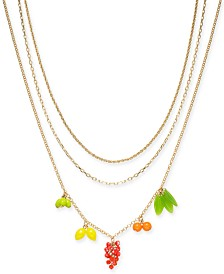 "I.N.C. Gold-Tone 3-Pc. Set Fruit Charm Necklaces, 16""/18""/20"" + 3"" extender, Created for Macy's"