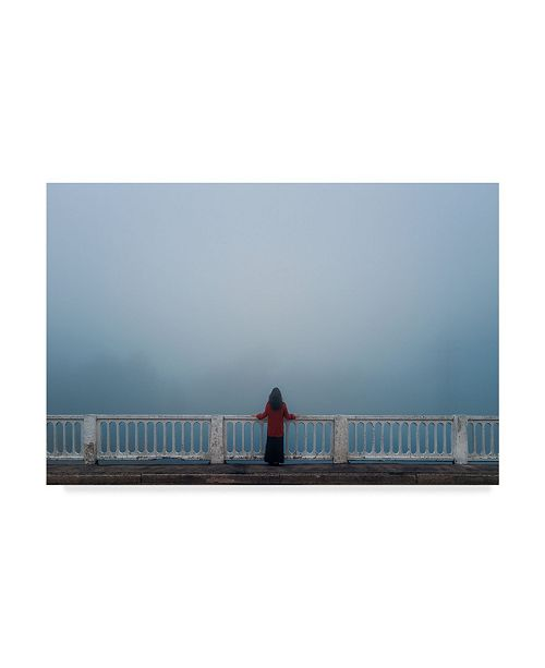 """Trademark Global Mikhail Potapov 'Woman On Bridge' Canvas Art - 19"""" x 12"""" x 2"""""""