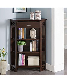 Home Chocolate Oak Mantel Height 3-Shelf Corner Bookcase with Drawer Storage