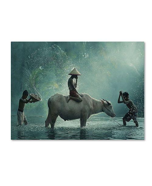 "Trademark Global Vichaya 'Water Buffalo' Canvas Art - 24"" x 18"" x 2"""