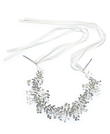 INC Silver-Tone Crystal & Imitation Pearl Ribbon Headband, Created for Macy's
