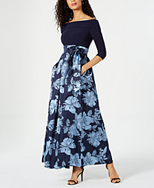 Jessica Howard Off-The-Shoulder Printed Gown