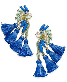 I.N.C. Gold-Tone Stone & Tassel Feather Parrot Drop Earrings