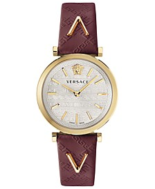 Women's Swiss V-Twist Burgundy Leather Strap Watch 36mm