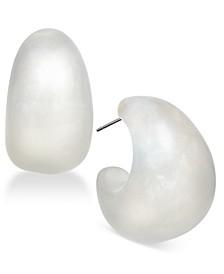 Silver-Tone Wide Resin Hoop Earrings