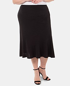 Plus Size Seamed Midi Skirt