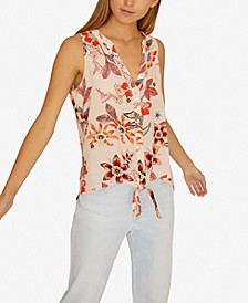 Craft Tie-Front Printed Sleeveless Shirt