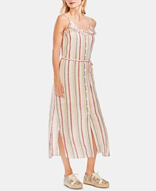Vince Camuto Ruffle-Yoke Linen Maxi Dress