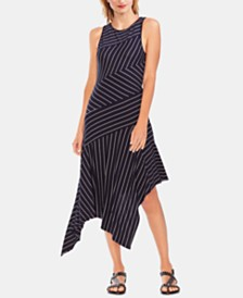 Vince Camuto Spliced Handkerchief-Hem Dress