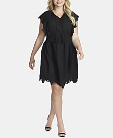 Jessica Simpson Trendy Plus Size Cotton Tummy-Control Schiffli Dress